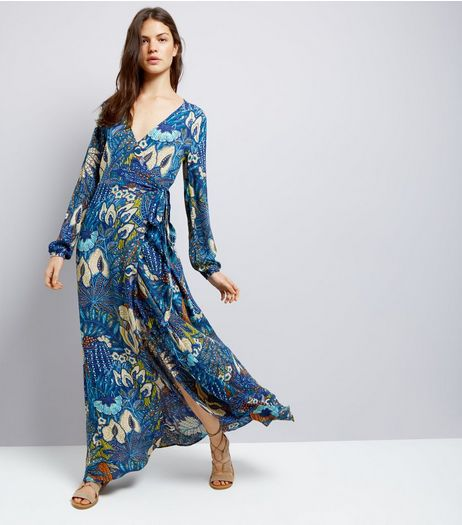 Blue Vanilla Navy Floral Print Wrap Front Maxi Dress | New Look