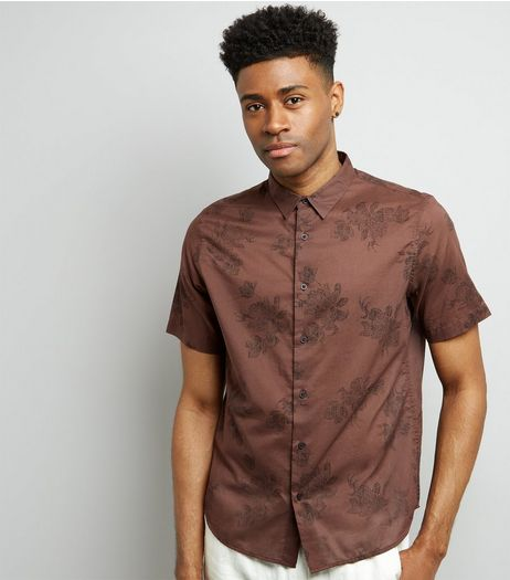 Brown Floral Print Short Sleeve Shirt | New Look
