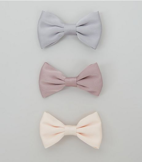 3 Pack Pink Blue and Lilac Satin Bow Clips | New Look