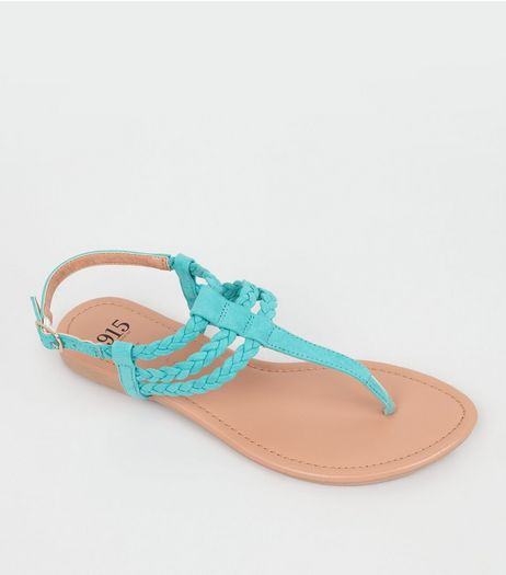 Teens Mint Green Suedette Plaited Sandals | New Look