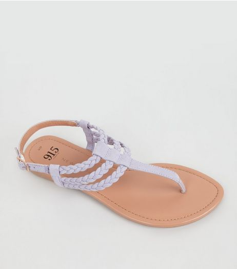 Teens Lilac Suedette Plaited Sandals  | New Look