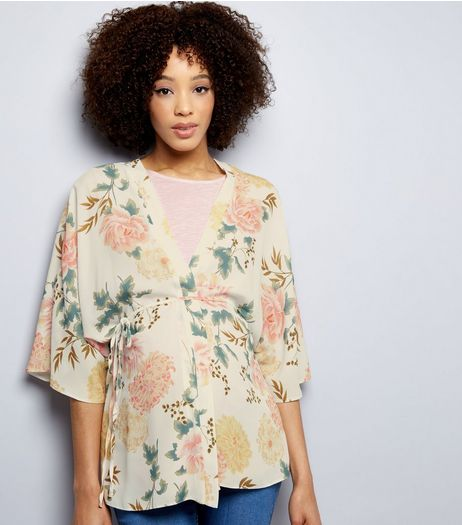 Maternity White Floral Belted Kimono | New Look
