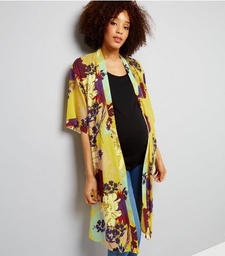 Maternity Yellow Floral Longline Kimono | New Look
