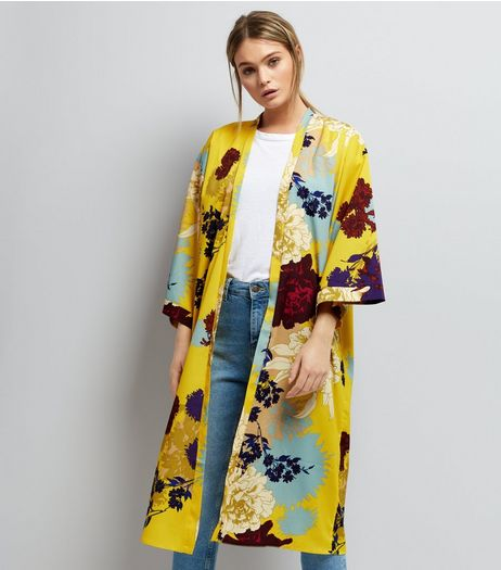 Tall Yellow Floral Longline Kimono | New Look