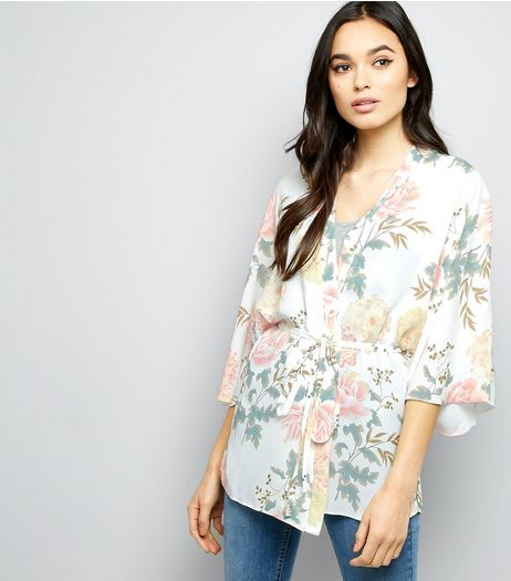 Tall White Floral Belted Kimono | New Look