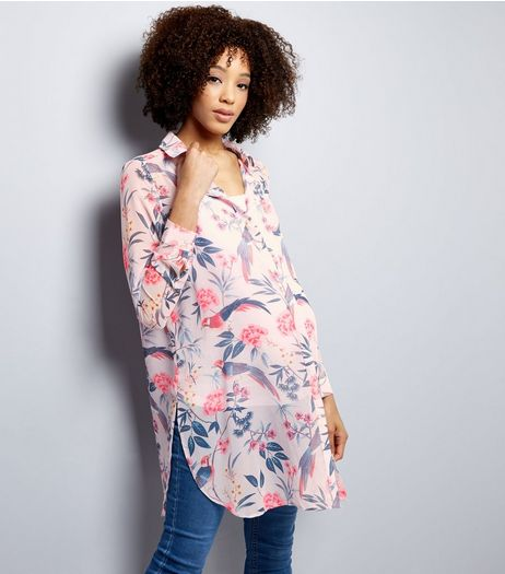 Maternity Lilac Floral Chiffon Longline Shirt | New Look