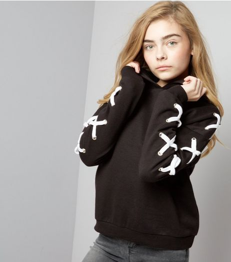 Teens Black Eyelet Lace Up Sleeve Hoodie | New Look