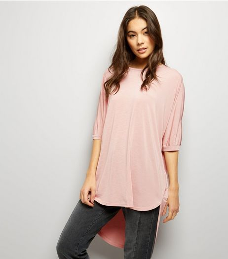 Mid Pink Zip Trim Oversized T-Shirt  | New Look