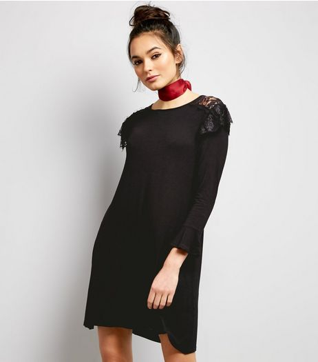 QED Black Frill Trim Swing Dress | New Look