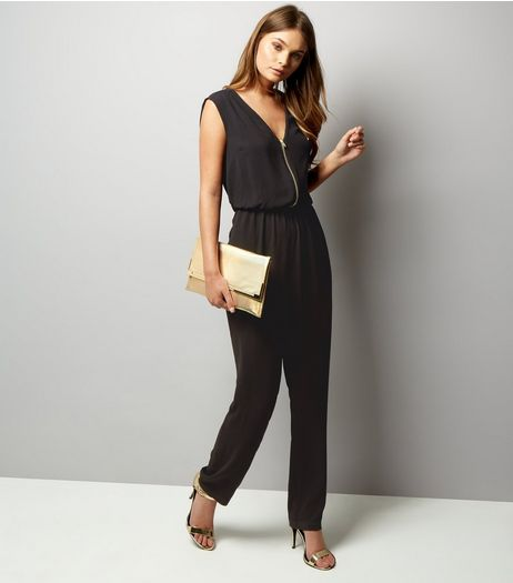 Black Zip Front Sleeveless Jumpsuit  | New Look
