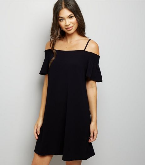 Black Shirred Cold Shoulder Slip Dress | New Look