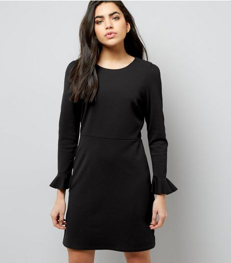 Black Bell Sleeve Tie Waist Dress | New Look