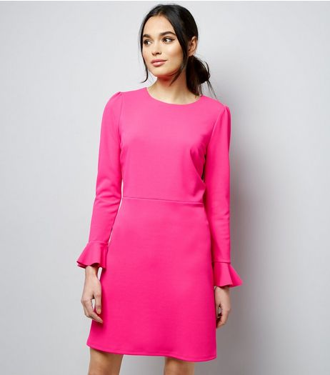 Mid Pink Bell Sleeve Tie Waist Dress  | New Look