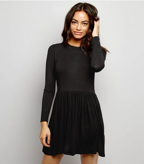 Black Jersey Long Sleeve Smock Dress | New Look