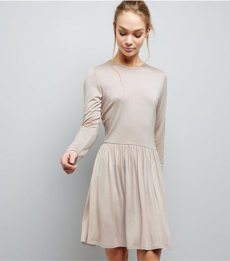 Dark Grey Jersey Long Sleeve Smock Dress | New Look