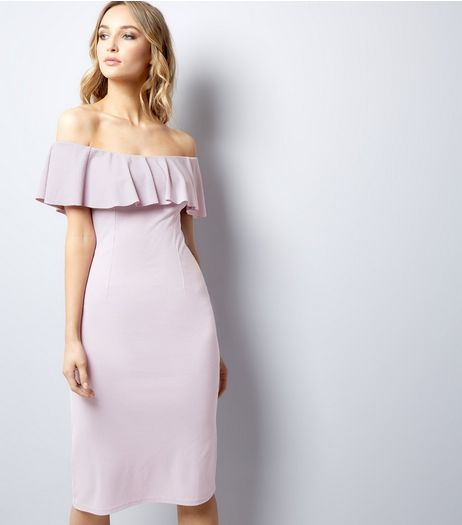 Lilac Frill Trim Bardot Neck Midi Bodycon Dress | New Look