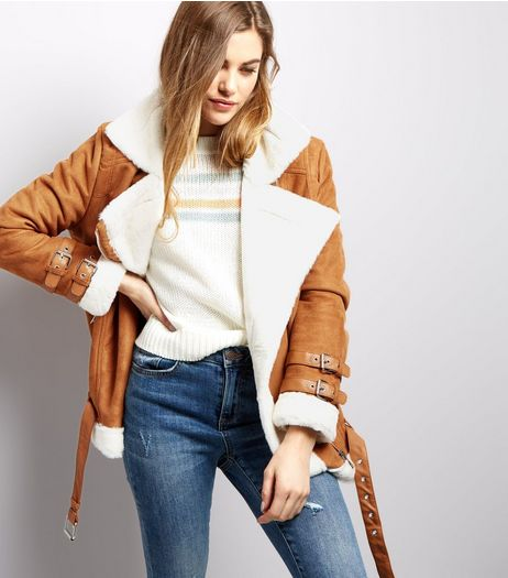 Blue Vanilla Camel Faux Shearling Aviator Jacket | New Look