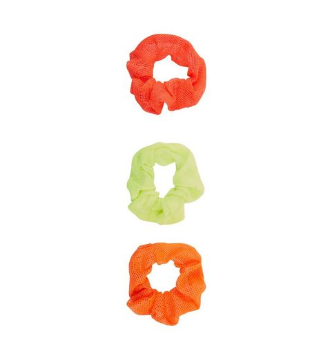 3 Pack Orange and Green Mesh Scrunchies | New Look