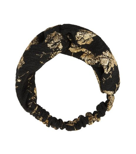Black Metallic Floral Twist Front Headband | New Look