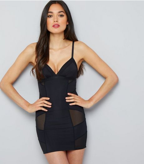 Black Mesh Panel Shaping Slip | New Look