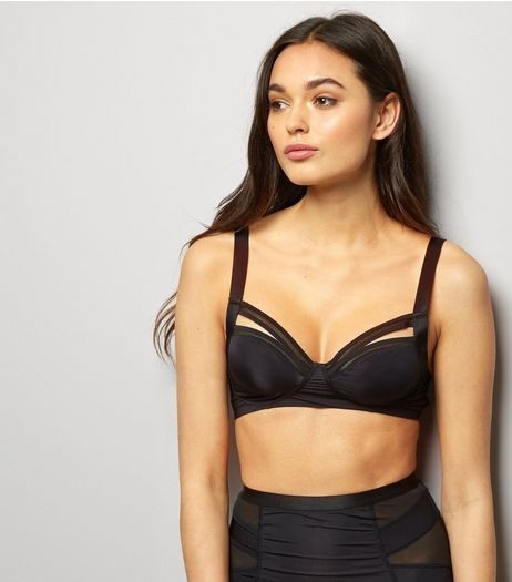 Black Strappy Mesh Trim Bralet | New Look
