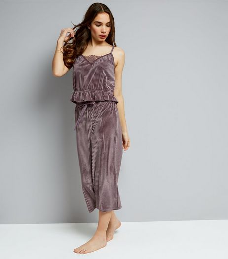 Lilac Ribbed Velvet Cami And Culottes Pyjama Set | New Look