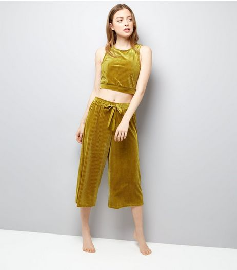 Green Ribbed Velvet Vest And Culottes Pyjama Set | New Look