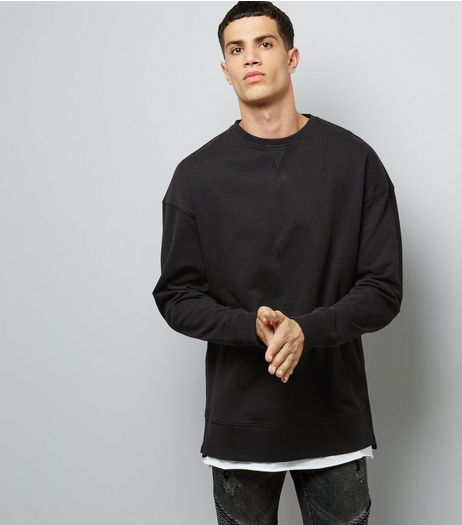 Black Dropped Shoulder Crew Neck Sweater | New Look