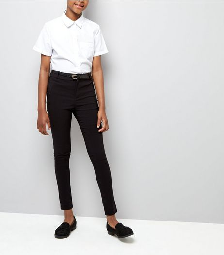 Teens Black Bengaline Belted Trousers | New Look