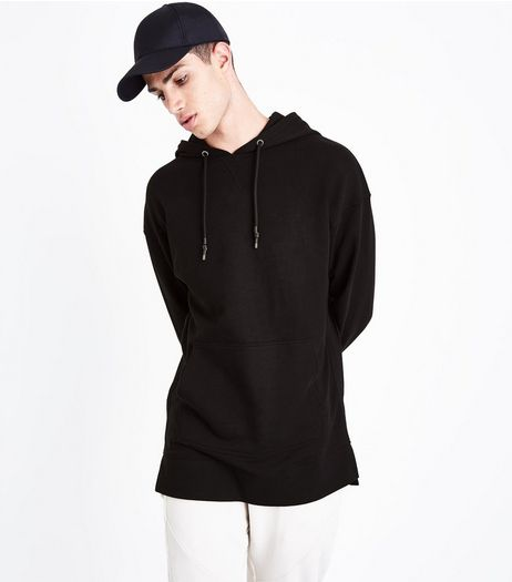 Black Dropped Shoulder Longline Hoodie | New Look
