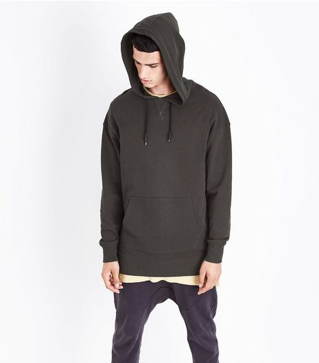 Dark Grey Dropped Shoulder Longline Hoodie | New Look
