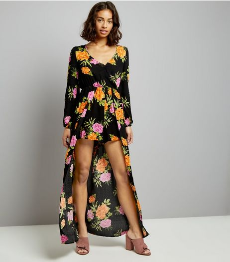 Petite Black Floral Print Maxi Playsuit | New Look