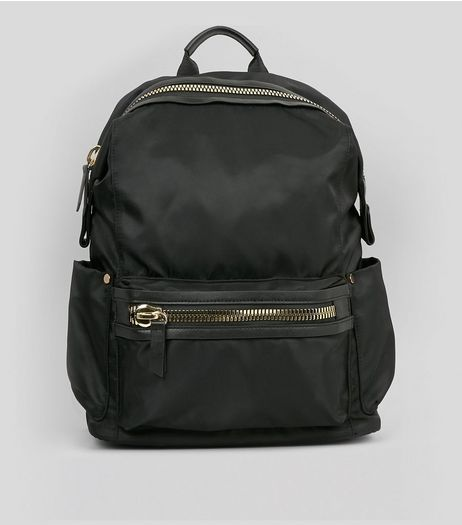 Black Chunky Zip Backpack | New Look