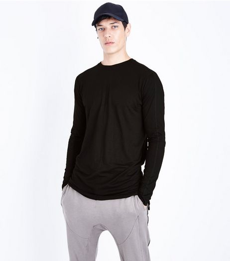 Black Seam Front Longline Long Sleeve T-Shirt | New Look