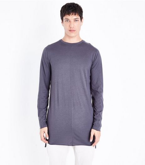 Grey Seam Front Longline Long Sleeve T-Shirt | New Look