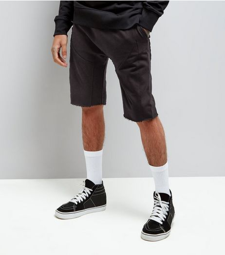 Black Panelled Drop Crotch Jersey Shorts | New Look