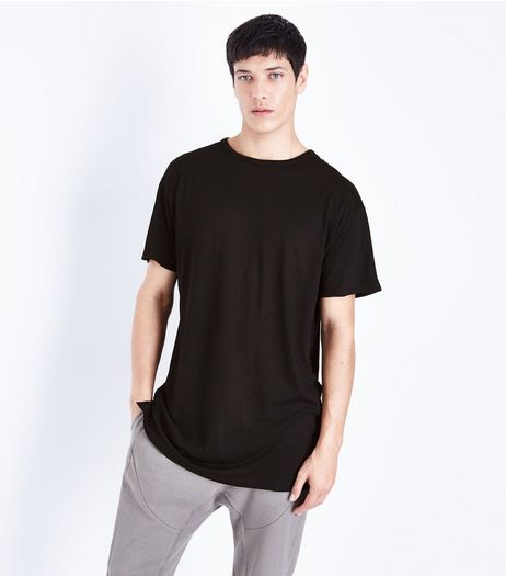 Black Split Hem Longline T-Shirt | New Look