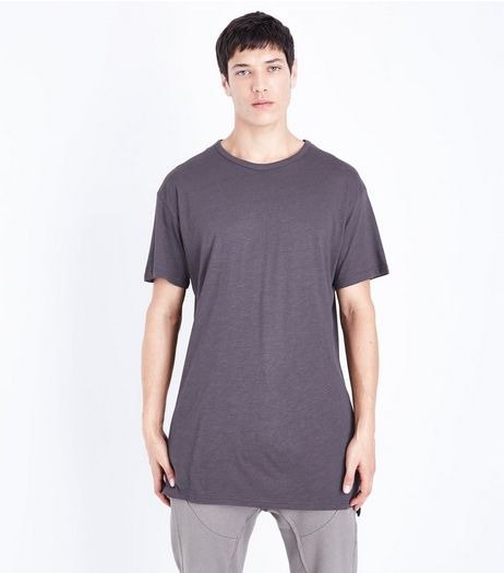 Grey Split Hem T-Shirt | New Look