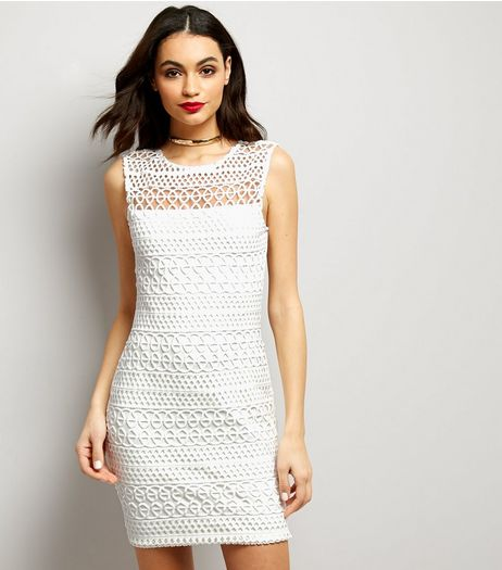 AX Paris Cream Lace Sleeveless Bodycon Dress | New Look