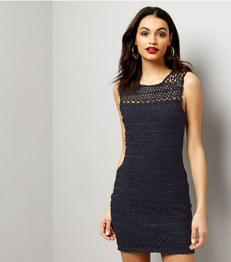 AX Paris Navy Lace Sleeveless Bodycon Dress | New Look