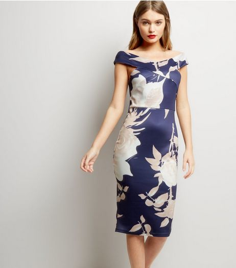 AX Paris Blue Floral Print Cross Strap Front Bodycon Dress | New Look