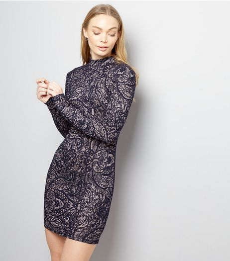 AX Paris Navy Lace Funnel Neck Bodycon Dress | New Look