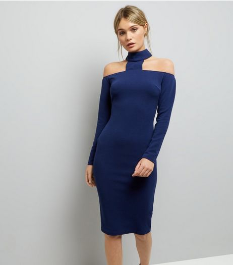 AX Paris Blue Choker Neck Long Sleeve Midi Dress  | New Look