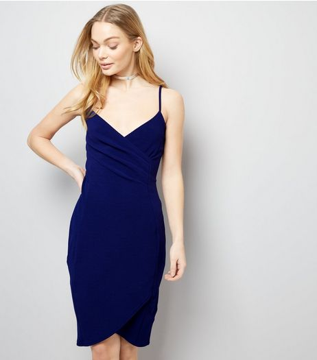 AX Paris Navy V Neck Wrap Midi Dress | New Look