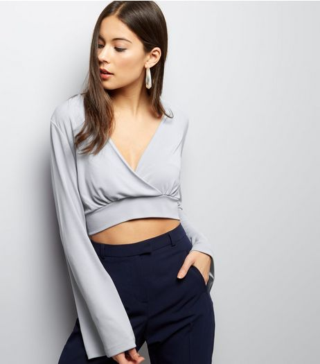 Pale Blue Wrap Front Flute Sleeve Crop Top | New Look