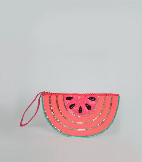 Pink Watermelon Embellished Clutch Bag | New Look