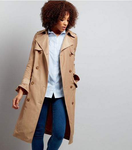 Camel Frill Sleeve Double Breasted Trench Coat  | New Look