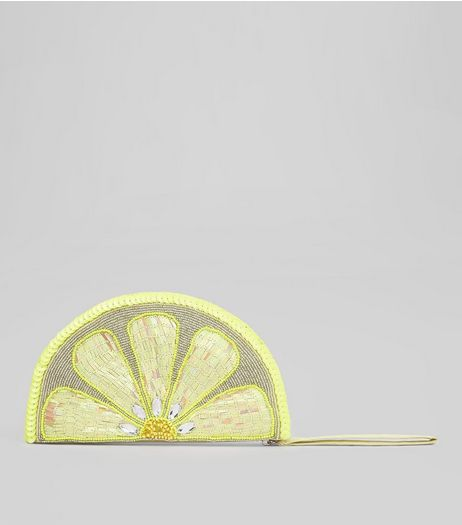 Yellow Lemon Sequin Embellished Clutch | New Look