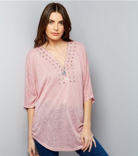 QED Mid Pink Eyelet Trim 3/4 Sleeve Top  | New Look
