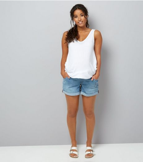 Maternity Blue Denim Boyfriend Shorts | New Look